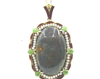 Antique Bloodstone Enamel Seed Pearl Pendant Necklace