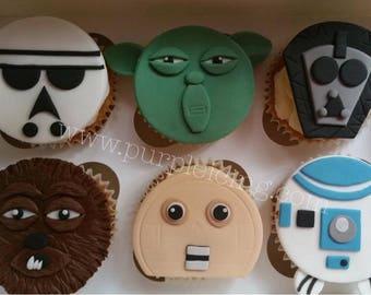 Custom Made 2d Cupcake Toppers: Starwars Characters & Logo