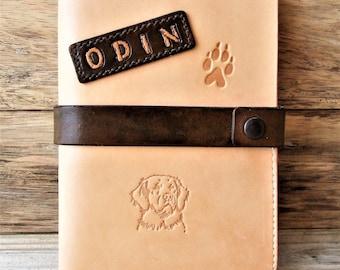 Leather dog health book