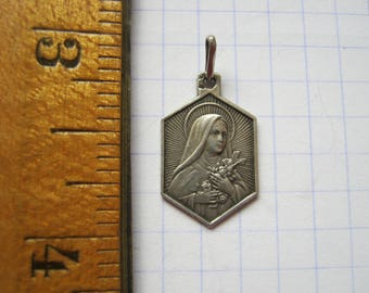 Saint Theresa Medal, Sainte Therese Medaille, French Silver Religious Medal, Catholic Silver Pendant