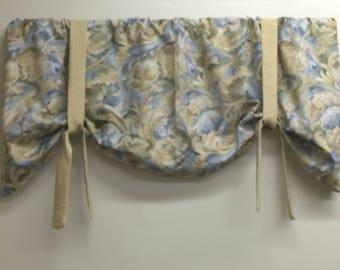 Window Valance, Tie up valance, blue, tan, green leaf swirl window valance