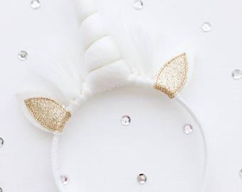 Unicorn hair circlet, white Horn, gold Glitter ears, 24 cm high, 20 cm wide, Decoration, Kids room, Wholesale