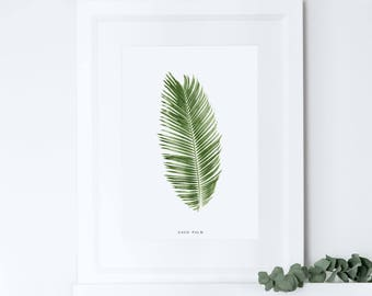 Palm Leaf Print, Tropical Leaf Print, Botanical Print, Home Decor, Housewarming Gift, Crazy Plant Lady, Moving Present Gift
