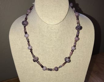 Purple glass necklace with toggle