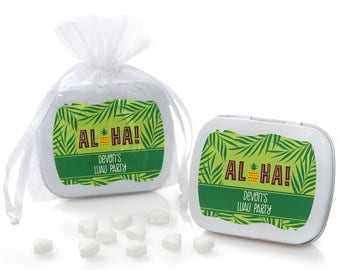 Tiki Luau Mint Tin Party Favors - Tropical Hawaiian Summer Party Supplies - Luau Baby Shower or Birthday Favors - Aloha Beach Party - 12 Ct