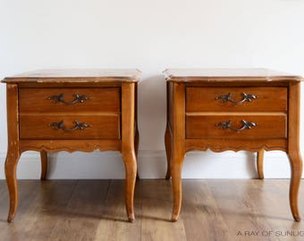Delightful Custom Refinish Available   Pair Of French Provincial End Tables   French  Country Nightstands   Matching