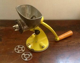 1950's Spong 605 Food Mincer. Yellow Meat Grinder.