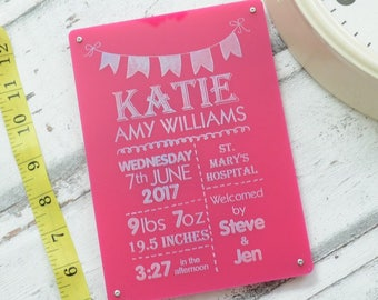 New Arrival Baby Girl Engraved Personalised Sign