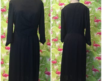 1940s 1950s draped black vintage dress