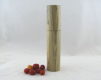 Spices and peppermill grinder in spalted Ash ,Cylinder  style with rod mechanisme  10 7/8 in article no: 569