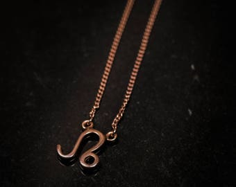 Rose Gold Over Sterling Silver Zodiac Necklace - Leo
