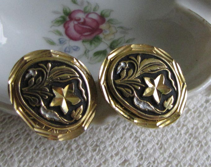 Black and Gold Toned Cufflinks with Mother of Pearl Inlays Vintage Formal Wear Men's Jewelry and Accessories