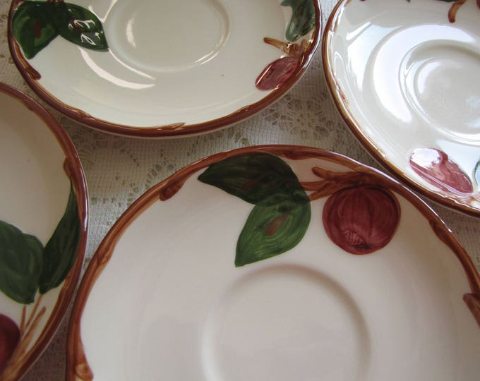 Franciscan Apple Saucers Set of Four (4) Flying F 1975-1979 Vintage Dinnerware and Replacements California Pottery