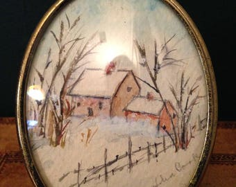 Vintage Framed Watercolor - Signed Watercolor - Oval Frame - Snow Scene