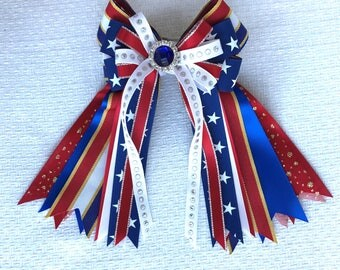 For Heidi -- Patriotic Bows for Horse Shows/hair accessory/red white blue sparkle gem