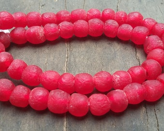 """African recycled glass beads, 8/9 mm.diam., 1 strand, 16"""" (41 cm.), 54/57 beads, red"""