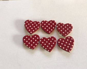Set of 6 hearts color Bordeaux and white
