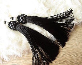 Black Tassel Earrings Satin/Silk Tassel Earrings Black Dangle Earrings Tassel Light Earrings White Black Long Earrings Boho Tassel Earrings