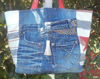 Large tote pattern - red and blue