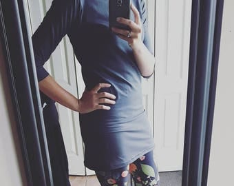 Women tunique GrAY CHARCOAL, mid-arm sleeves tunique, Gray tunique fall tunique,  women clothing, women fashion, women top,