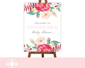 Printable - The 'Catherine' Welcome Baby Shower Sign | Floral | Wreath | Pretty | Welcome | Watercolour