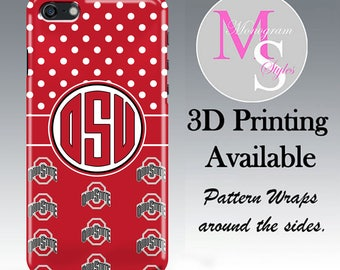 New Monogram iPhone X, 8, 7 Plus Personalized Red & White Polka Dot Ohio State Buckeyes Case iPhone 4S, 5S, 5C, 5SE iPhone 6 6S Plus #5061