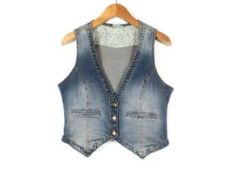 Denim vest, Light denim vest , Women vest , Vintage 90s Denim Vest,  Light Blue distressed Vest,  Women Waistcoat, Jeans vest / Medium