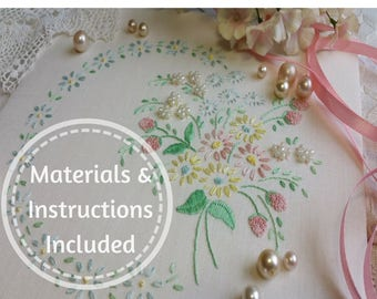 Traditional Transfered Embroidery Kit 'Emmie' ; Another *** Beautiful Begginner Kit *** from Maggie Gee Needlework