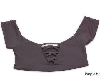 Seamless Off Shoulder X Front Bikini Top, Swimsuit, Swimwear, Bathing Suit, Women's Swimwear, Criss Cross Bikini Tops