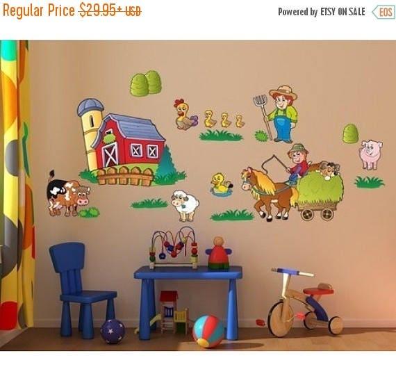 OFF Fall Sale Farm Set Nursery Boys Wall Decal Sticker Deco - Custom vinyl wall decals falling off