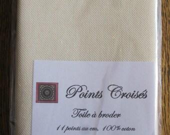 Canvas embroidery 11 cm, cream color