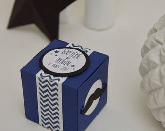 """10 boxes sweets themed """"Mustache"""" Midnight blue and black with chevrons"""
