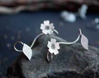 Sterling silver ear cuff. Flower ear cuff. Silver flower cuffs.