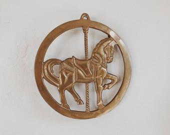 vintage solid brass trivet/carousel hourse/ carousel horse trivet/brass/made in india/horse decor/serving trivet/hanging trivet/brass trivet