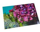 Set de table plastifié boule d'hortensia violet et feuillage