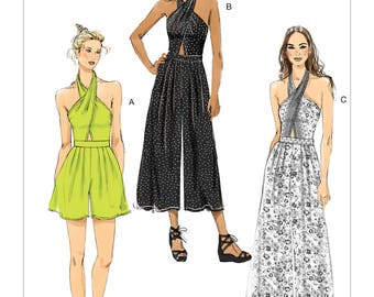 Vogue Pattern V9259 Misses' Criss-Cross Halter Romper and Jumpsuit with Length Variations