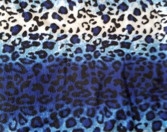 Shades of Blue Stripe Animal Skin Print Fleece Fabric (1.5 yards)