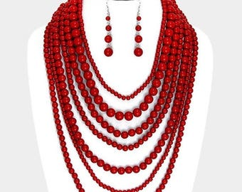 Multi layers Red Necklace, Multi strand, Bib necklace, Statement, red and silver plated, handmade gift idea, gift for her.