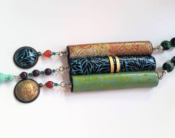 Polymer clay and agates necklace