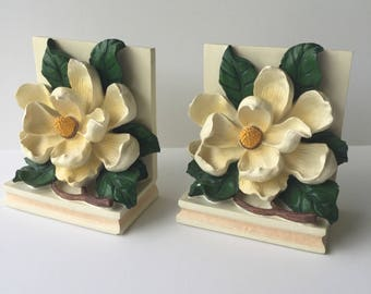 Vintage Pair of Magnolia Flowers Bookends