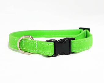 """Cat Collar  - """"Lime Green"""" - Safety Buckle/Breakaway - Summer Cat Collar - Bright Cat Collar - Safe/Soft/Durable"""