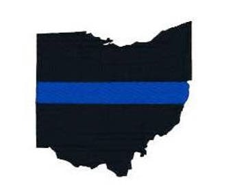 BUY 2 GET 1 FREE - Ohio Thin Blue Line Silhouette Filled Machine Embroidery Design 5 Sizes, Including Mini