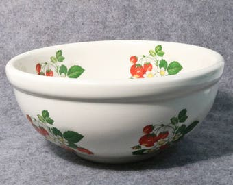 """Large Portmeirion Summer Strawberries Serving Bowl-Made in England, 9"""" Diameter"""