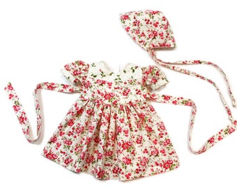 Newborn to 3 month baby dress infant outfit infant set baby bonnet baby outfit  floral dress pink dress baby shower new baby gift