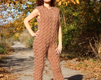 New hand knitted mohair sexy union suit,Handmade pants