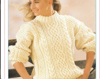 Very nice PDF knitting pattern for a ladies Aran jumper to fit sizes 32 - 44 ins