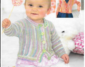 Pretty knitting pattern for a girls cardigan to fit age birth - 7 years.  Double knit wool smiley stripes.  Original pattern