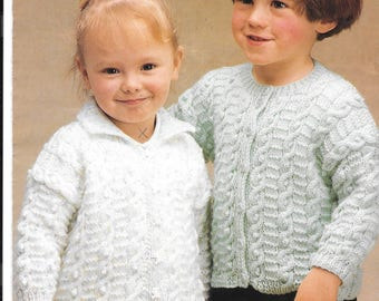 Original old knitting pattern for a girls double knit round and collared cardigan - 18-24 ins (9mths - 4 years)