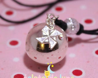 Pregnancy's Bola HarmonyBall genuine 925 sterling silver origami windmill charm and rhinestone