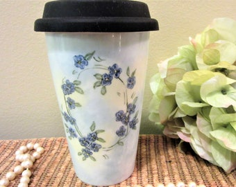 Mug Travel  Coffee Tea Blue Flowered insulation Porcelain Ceramic Pottery Hand Painted blm